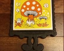 Cast Iron Hot Plate - Vintage - Groovy Mushroom trivet