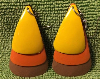 Vintage Layered Earrings 60s/70s Yellow, Orange, Brown