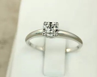 Ring, Vintage, 1919, White Gold 14-18K, 1/8-1/4ct, Diamond Engagement Ring, Illusion Setting