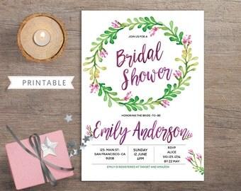 Purple Green Bridal Shower Invitation Printable, Bridal Shower Invite, Custom Bridal Shower Invite, Purple Watercolor, Spring Summer, BS27
