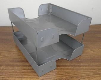 Vintage Weiss 2 Tier Industrial Letter Tray Desk Paper Organizer