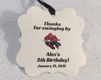 Spiderman party favor tags, thank you tags