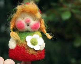 Flower child strawberry, finger puppet