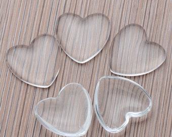 Heart Clear Glass Cabochons Wholesale, Heart Glass cabs, Crystal Clear Colorless Glass, transparent glass covers