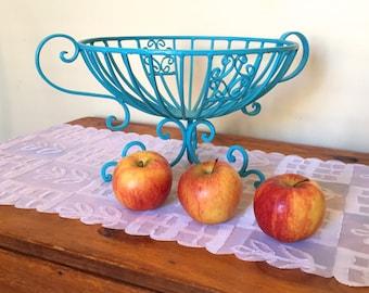 Aqua metal fruit bowl, up-cycled