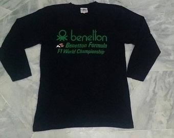 Vintage Benetton long sleeve spellout black colour M size
