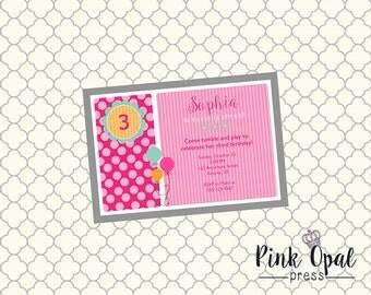 Balloons and Stripes Custom Birthday Invitation - Printable