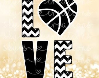 Basketball love, heart, chevron, svg