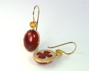 750 earrings Rosé gold citrine carnelian unique design jewelry hand made in Germany
