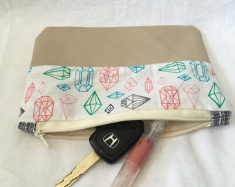 Gem Cotton and Leather Zipper Pouch, Clutch