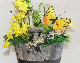 Yellow Butterfly Floral Arrangement   Yellow Faux Flower Arrangement   Yellow Silk Flower Arrangement   Yellow Fake Flower Arrangement