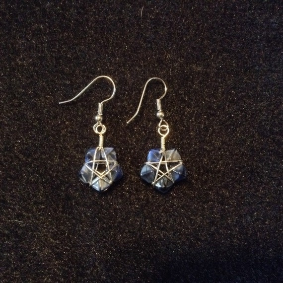 Black and Blue Star Earrings