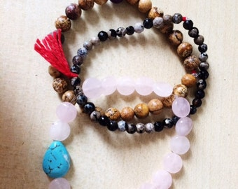Earth Trio Beaded Bracelets: Rose Quartz, Jasper, Wood