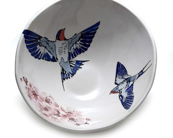 Large Swallow and Cherry Blossom Bowl