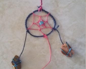 Navy and pink dream catcher with 3 natural stones
