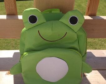 SALE frog backpack,frog bag,toddler backpack,frog birthday,frog diaper bag,frog party, frog nursery,frog baby shower, frog stuff, froggy bag