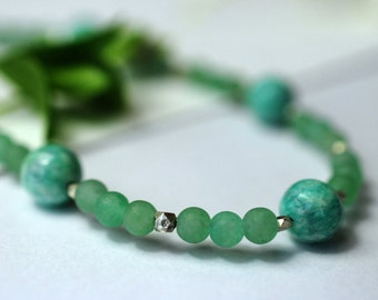 Amazonite and aventurine gemstone necklace