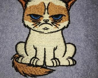 Embroidered Light Blue Cotton Bathroom Hand Towel- HS0139- GRUMPY CAT- ANIMALS-Pets