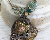 Steampunk Heart Pendant on Long Green and Bronze Necklace