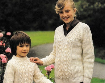 Childrens Jumpers Knitting Pattern Childrens Sweater Knitting Pattern Childrens Aran Knitting Pattern Knitting Pattern Digital PDF CP025