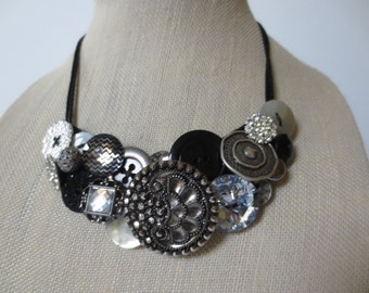 Statement Button Bib Necklace Silver