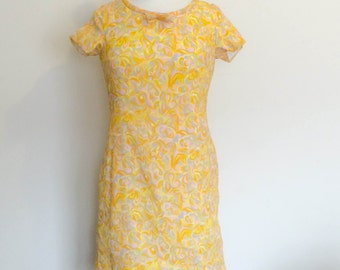 1970s Retro Print Sheath Dress Yellow Vintage