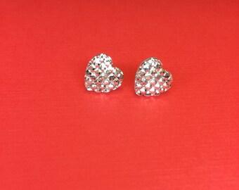 Silver heart shaped diamond  stud earrings