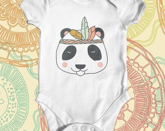 Tribal Panda Baby Bodysuit | Funny Baby Bodysuit | Wild Baby | Baby Shower Gift | Cute Baby Clothes | Baby Animal Bodysuit | Newborn Baby