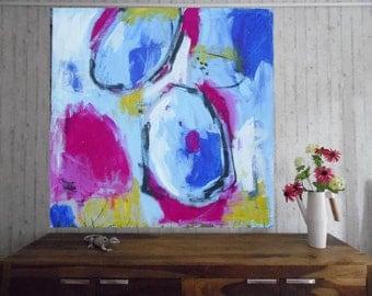 Free shipping, orginal abstract art. 90x90cm 35.5 x35.5 inch blue, pink,