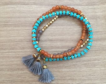 Grey Tassel Turquoise TQ Beaded Orange Glass Beaded Gold Brass Bead Elastic Stretch Wrap Bracelet