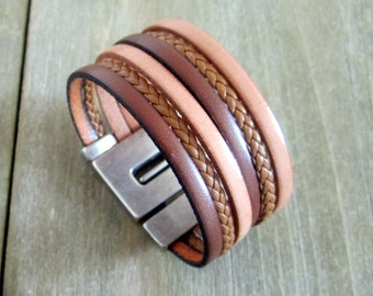 Male/female Camel leather and natural, loving money 30MM plate clasp leather bracelet