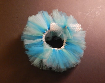 Infant Tutu with matching headband - Ocean Blue
