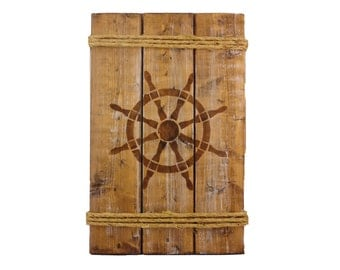 Hand Made Wood Nautical Sign - Captain's Wheel, Brown