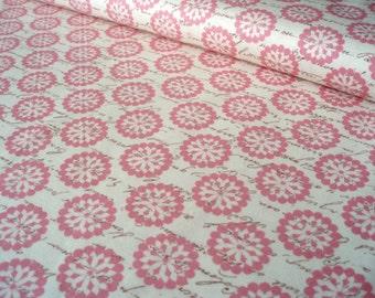 Cotton fabric Paris Blooms and Script Pink