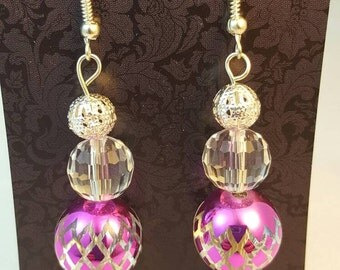 Beaded dangle earrings,fun and flirty,pink bling.