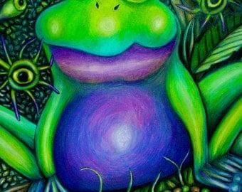 Fat Frog Handmade Illustration Art PRINT