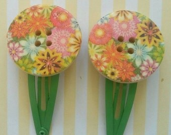 ON SALE Floral Button Hair Clips - Pair - Colourful