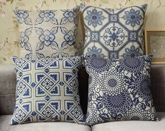 50% off - Blue Pattern Pillow Case, set of 4