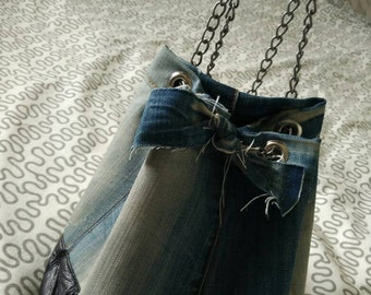 Upcycled Crossbody Chained Bucket Bag fully lined with cotton