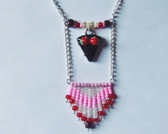 Sweet Treat-Chocolate Cake Beaded Necklace