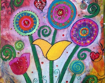 Table flowers Mixmedia 30 by 30 art. Decoration. Colors collage