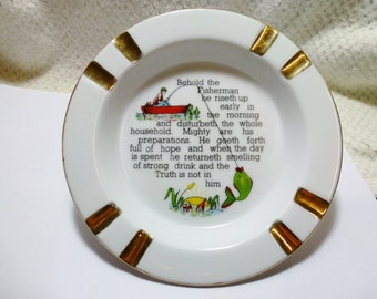 Vintage Fine White China Ashtray with a Poem about a Fisherman