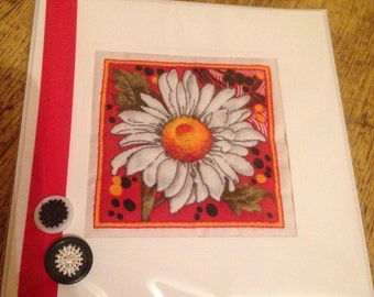 Hand Quilted Sewn Greetings Card White Daisy