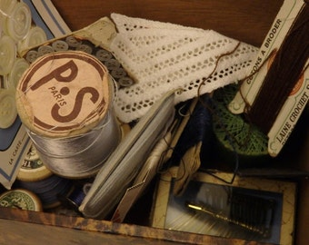 Vintage Box Collection of French Haberdashery Sewing Curiosities Lace Buttons Wooden Cotton Reels