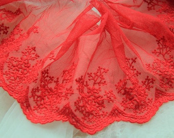 "10 yard 10cm 3.93"" wide red mesh tulle gauze embroidery lace trim ribbon ua6bd free ship"