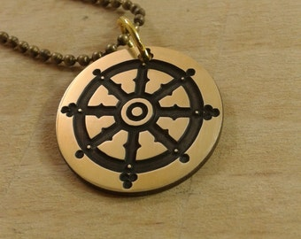 Dharmacakra - Wheel of Dharma  pendant, Buddhism necklace