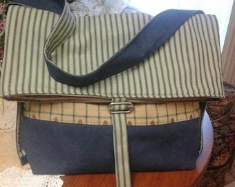 Denim stripe bag