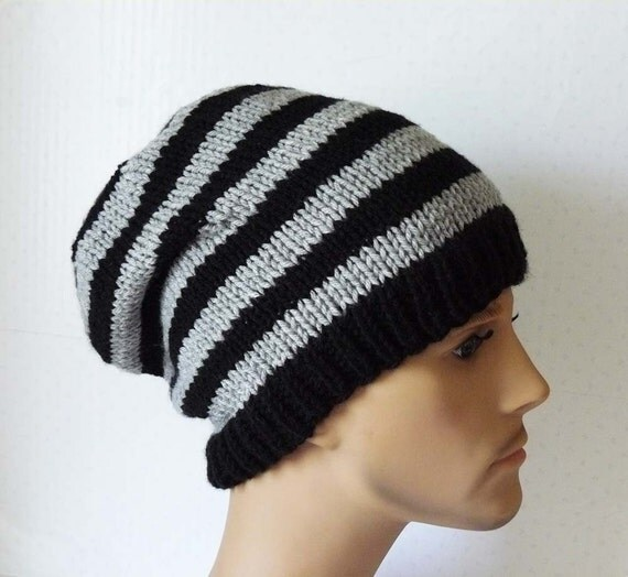 Mens Slouchy Beanie Knitting Pattern : Knitting PATTERN, Knit Slouchy Beanie Pattern, Mens Knit Hats Patterns, Knit ...