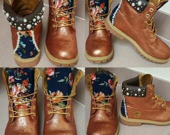 RESTORATION!!! Custom Rose Gold Glitter Timberlands (Design only, shoe not included)