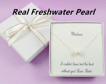 Sterling Silver Floating Necklace,bridesmaids gift,freshwater pearl necklace,bridesmaids necklace,bridesmaid jewelry,wedding jewelry